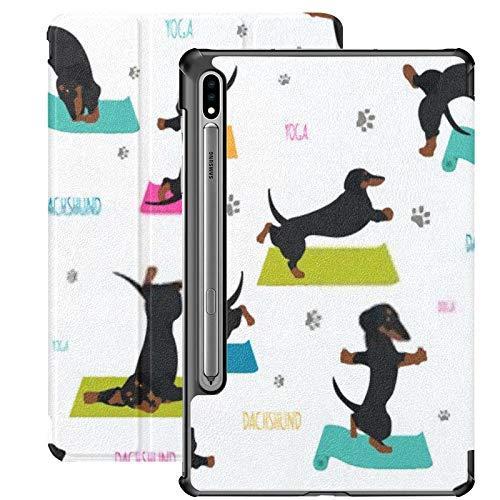 Funda Galaxy Tablet S7 Plus de 12,4 Pulgadas 2020 con Soporte para bolígrafo S, Yoga, Perros, Poses, Ejercicios, Dachshund, Funda Protectora Delgada sin Costuras con Soporte para Samsung