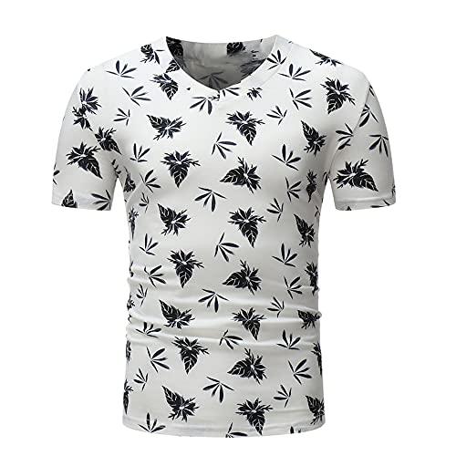 Shirt Ocio Hombre Manga Corta Ajustada Verano con Cuello En V Hombre T-Shirt Tendencia Elástica Estampado Hombre Shirt Moda Clásica Hombre Camuflaje T Shirt A-White M