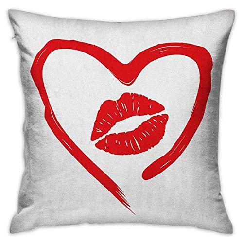 Kiss Square Funda de almohada personalizada Corazón dibujado con lápiz labial y mujer Impresión de labios Romance Pasión y ternura Mensaje Rojo Blanco Fundas de cojín Fundas de almohada para s