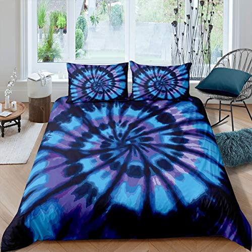 Tie-Dye Duvet Cover Set Blue Boho Psychedelic Swirl Print Comforter Cover for Kids Boys Girls Teens Hippie Bohemian Gypsy Bedding Set Decor 3 Pcs Bedspread Cover with 2 Pillowcase King Size