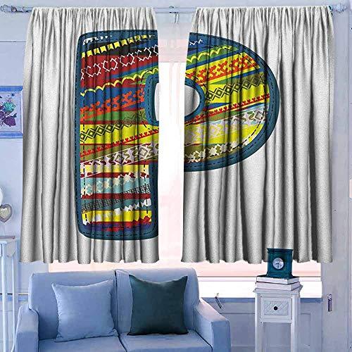 patroon gordijnen staaf Pocket Gordijn Panelen voor Slaapkamer & Keuken Letter P Stof Thema Lettertype Ontwerp Alfabet Hoofdtas P met Blauwe Jean Stijl Steken Print Blauw Geel