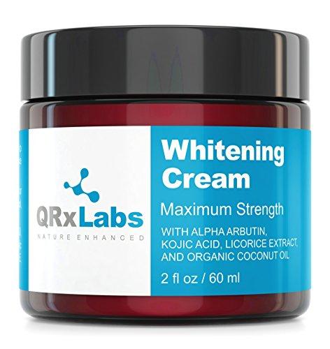 Skin Whitening Cream with 2% Alpha Arbutin, Kojic Acid & Licorice Root Extract – Maximum Strength Brightening for Face, Neck & Body – Dark Spots, Hyperpigmentation, Melasma and Sun Damage – 2 fl oz