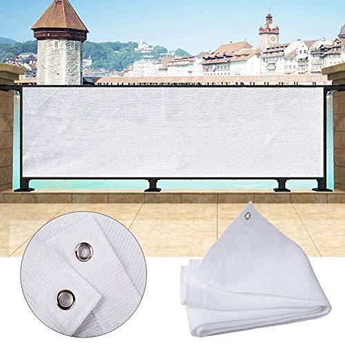 ABMOS Toldo de Pantalla de privacidad para balcón, Pantalla de privacidad, Parabrisas Anti-UV para jardín, terraza, Sombra, Red HDPE Anti-envejecimiento, 49 tamaños-120x1000cm Blanco