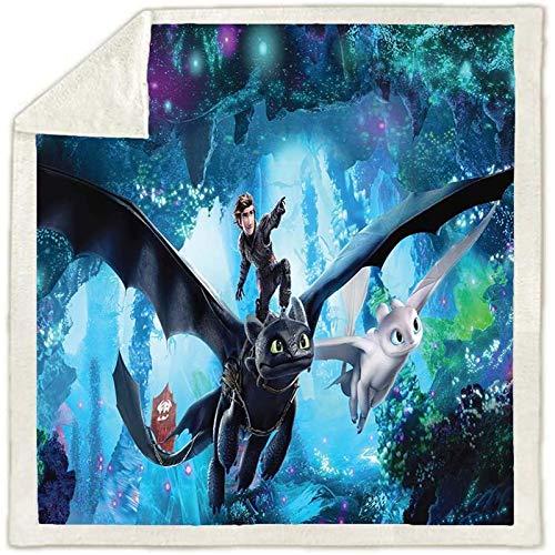 Bfrdollf 3D-Cartoon-Decke How to Train Your Dragon für Kinder, 100% Mikrofaser, superweich, 150x200 cm extra flaushig und plüsch Sofaüberwurf Decke (130 x150 cm,6)