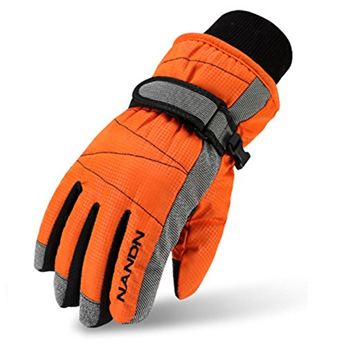 Magarrow Kids Winter Warm Windproof Outdoor Sports Gloves For Boys Girls (Orange,Medium (Fit kids 8-10 years old))