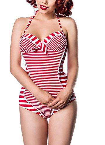 Onbekend dames vintage nekhouder badpak vormbeugel in marine-look rood wit gestreept met strik voorzijde rugvrij