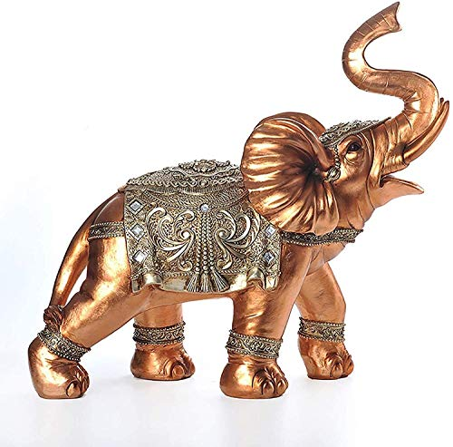 Equipo de vida Estatua de elefante rico Feng Shui Adorno de elefante dorado Estatuilla de riqueza de la suerte para la decoración de la oficina en el hogar Regalo de calentamiento de la casa de cum
