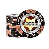 本格的 カジノ ポーカーチップ 14g 20枚セット ラウンド用品 (オークル 10000$)