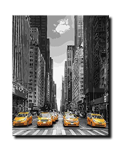 shukqueen DIY de pintura al óleo, pintura por número kits, pintura acrílica del adulto Taxi de Nueva York 16x 20pulgadas