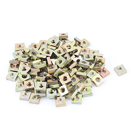 uxcell M3x5.5mmx2mm Zinc Plated Square Nuts Bronze Tone 100pcs