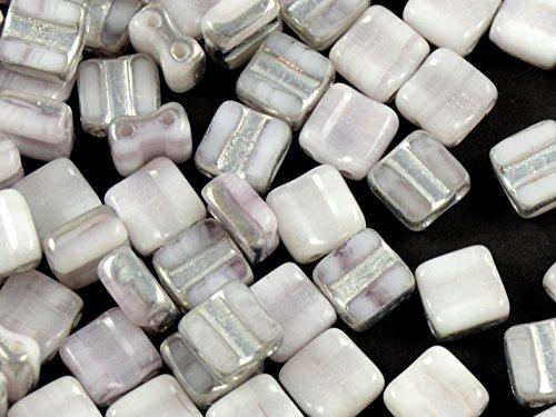 24pcs Silky Cut Block Beads - Tchèque Perles en verre pressées avec deux trous, Carrés sculptés 6x6mm, White Half Silver