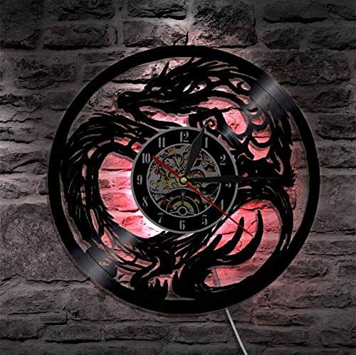 LittleNUM Vinyl-LP Wanduhr Kreative Wanduhr Antike mythisches Tier Drachen Dekorative Wanduhr besonderes Geschenk Mute Wanduhr,with led Light