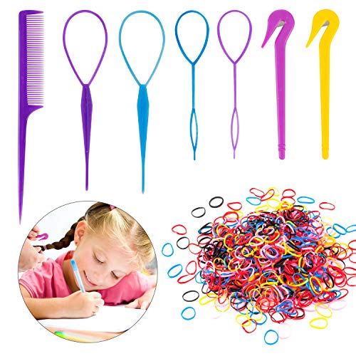 79STYLE 1000pcs Small Elastic Hair Bands 2pcs Mini Rubber Bands Remover Pony Pick cutter 4pcs Topsy Hair Tail Tools Girls French Braiding Tool Loop Ponytail Maker Hair Styling Accessories (Multi-Color Pink)