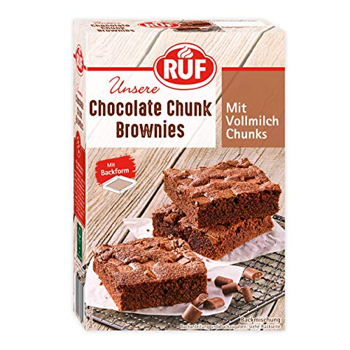 RUF Chocolate Vollmilch-Chunk Fudgy Brownies mit Backform, 410 g