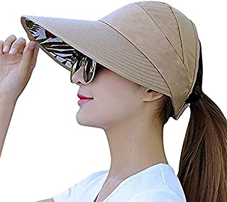 Sun Visor Hats for Women Large Wide Brim UV Protection Summer Beach Packable Cap