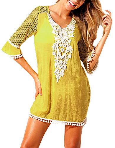 EDOTON Strandkleider, Frauen Bluse Kleid häkeln Pom Pom Trim Strand Tunika Badeanzug (S, Gelb)