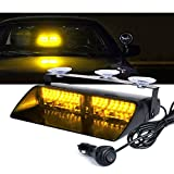 Xprite Amber Yellow 16 LED High Intensity Emergency Hazard Warning Strobe Lights w/Suction Cups for Law Enforcement Vehicles Truck Interior Roof Windshield Dash Deck Flashing Light