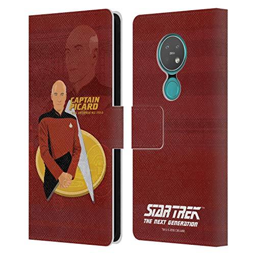 Officiële Star Trek Kapitein Picard Iconische karakters TNG Lederen Book Portemonnee Cover Compatibel voor Nokia 7.2