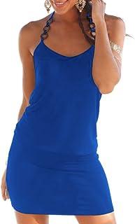 Donna Vestiti Eleganti Estivi Corti V Scollo Senza Maniche Vestito Mare Puro Colore Slim Casual Abito Mini Hawaiana Spiagg...