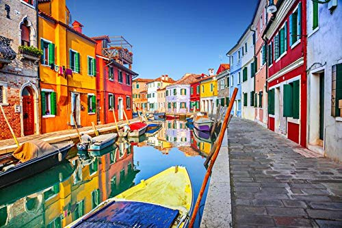 Colorful Houses on the Canal in Burano, Venice, Italy A-9013312 (9x12 Art Print, Wall Decor Travel Poster)