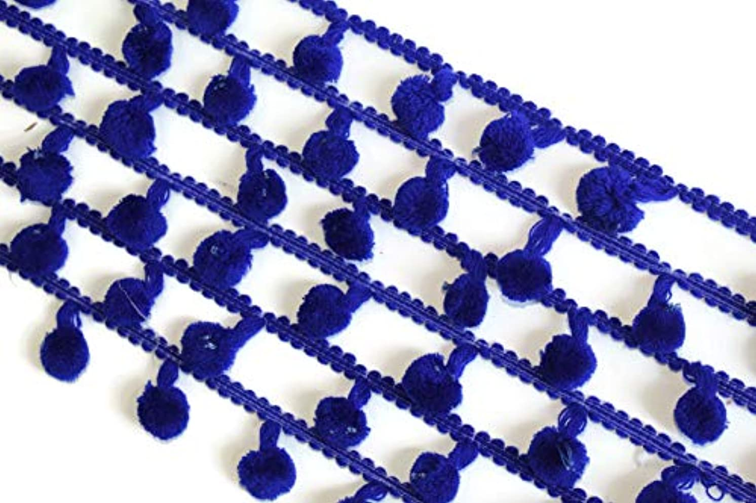 09 Yards of Indian Blue Pompom Trim Craft Supplies Handmade DIY by iDukaancrafts