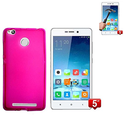 Todobarato24h Funda TPU Lisa Compatible con Xiaomi REDMI 3 Pro / 3S Rosa + Protector DE Cristal Templado