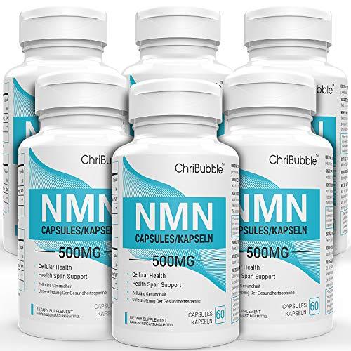 6 PACK NMN Kapseln mit Maximaler Stärke | 500 mg pro Kapseln | 360 Kapseln Nicotinamide Mononucleotide | Leistungsstarke NAD + Level