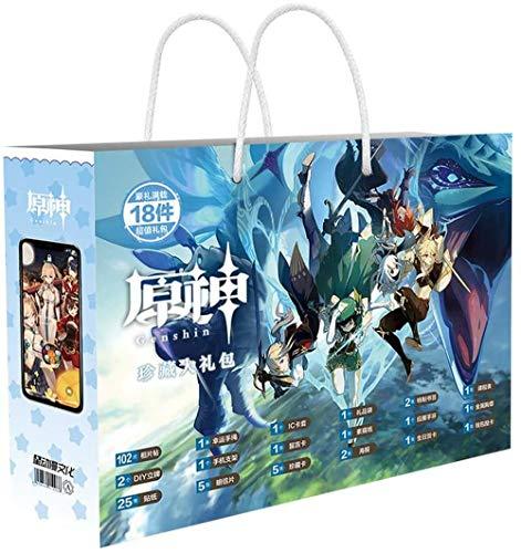 Anime Bolsa de impacto incluye pegatinas de figura para teléfono móvil, marcador de tarjetas de felicitación, bolsa de mano, programa de estudios