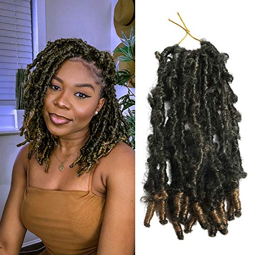 YEBO 7 Packs Butterfly Locs Hair Pre Looped Hair for Distressed Locs Crochet Hair 12 inch Naural Black Color Synthetic Hair Extensions(12inch/T27)