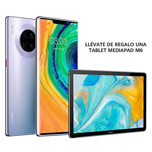 """HUAWEI Mate30 Pro - Smartphone con pantalla curva de 6.53"""" OLED(Kirin 990, 8+256GB, Cuádruple Cámara Leica(40MP+40MP+8MP+16MP), Batería de 4500mAh, EMUI 10), Color Gris Space Silver+Tablet MediaPad M6"""