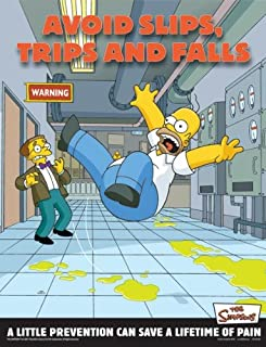 Simpsons Emergency Preparedness Workplace Safety Poster - Avoid Slips Trips and Falls