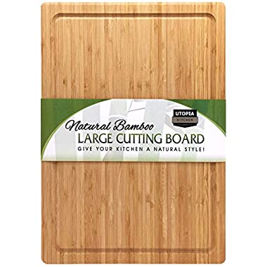 Extra Large Bamboo Cutting Board (17 by 12 inch) - Utopia Kitchen
