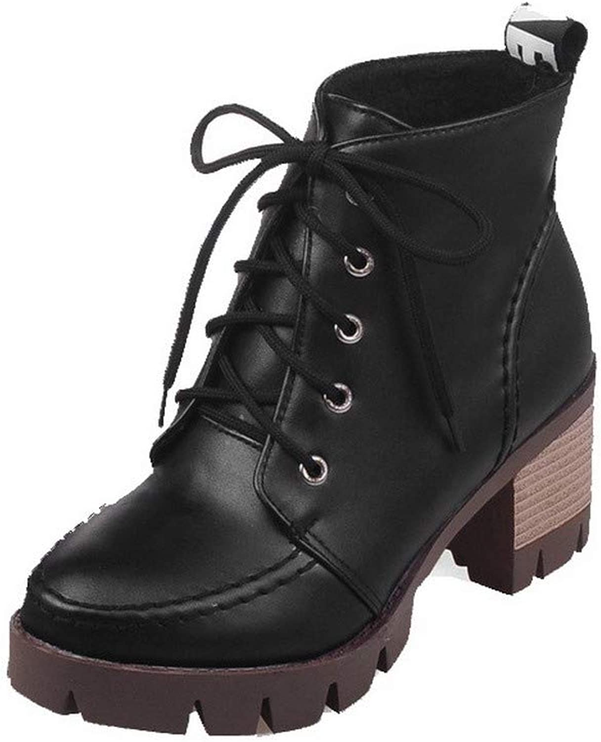 WeenFashion Women's Kitten-Heels Pu Low-Top Solid Lace-Up Boots, AMGXX124180
