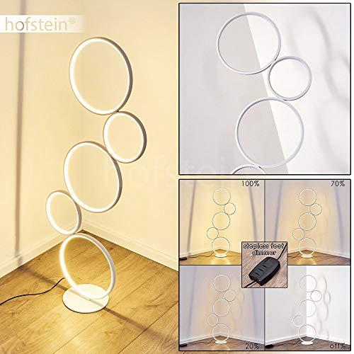 LED Stehlampe Rodekro, dimmbare Stehleuchte aus Metall in Weiß, 36 Watt, 3200 Lumen, Lichtfarbe 3000 Kelvin (warmweiß), Standleuchte m. Dimmer über den Fußschalter