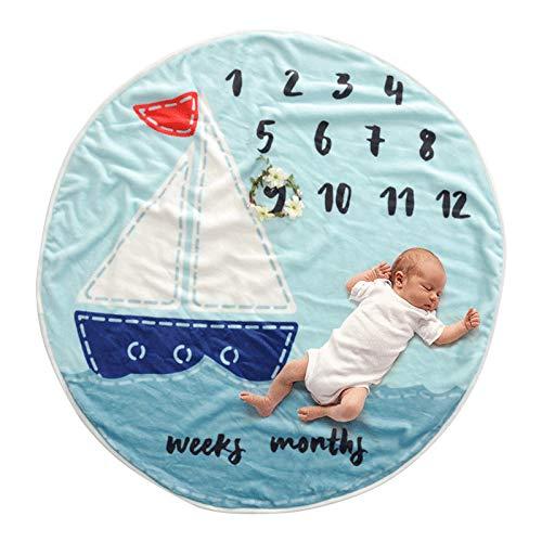 Baby-Meilenstein Decke Flanell Unisex Runde Durchmesser 95 Cm, Diligencer Neugeborenen Monatliche Meilenstein Decke Für Mädchen Junge Boy Kranz Prop Geschenkartikel)) Blau)