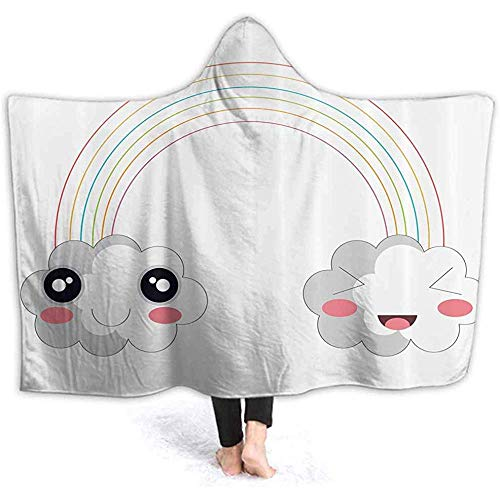 Duanrest Wearable capuchonjas kinderen Happy Rainbow Clouds Hood poncho Cape Funny 3D Print Men Vrouwen Cozy met Hooded