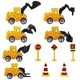 IWILCS 11PCS Construcción Camión Pastel Decoración, Decoración de Contrucción, Construcción de Vehículos Conjunto, para Decoraciones de la Fiesta de Cumpleaños