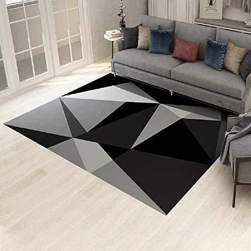 Alfombras Alfombra niño Alfombra descolorida Antideslizante con diseño geométrico Negro grisáceo alfombras recibidor Alfombra Bebe 140X200CM