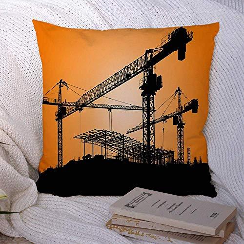 N\A Fundas de Almohada Decorativas para sofá Cama Arquitectura de sofá Grúa de Obra Industrial Pesada Actividad Industrial Hombre Contratista de Ciudad Negra Desarrollar Funda de cojín Suave