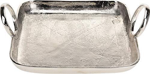 Fair-Shopping Teller Schale Dekoschale Obst-Schale Servier-Platte Tablett Servier-Tablett Deko-Teller Aluminium Variation (26 x 26 cm A150)