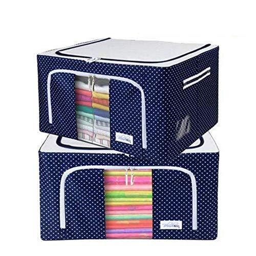 Faltbare Aufbewahrungsboxen, Oxford-Gewebe, Aufbewahrungsbox für Kleidung, Organizer, Behälter, Körbe mit Stahlrahmen für Kleidung, Bettlaken, Decken-Aufbewahrung (blau, 2 Stück)