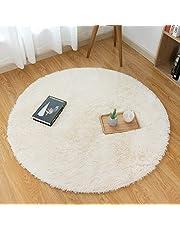 Mensu ラグ シャギーラグ カーペット 円形 絨毯 滑り止め 洗える ラグマット ふわふわ 直径130cm ホットカーペット 抗菌 防臭 防ダニ オールシーズン 床暖房対応 ベージュ