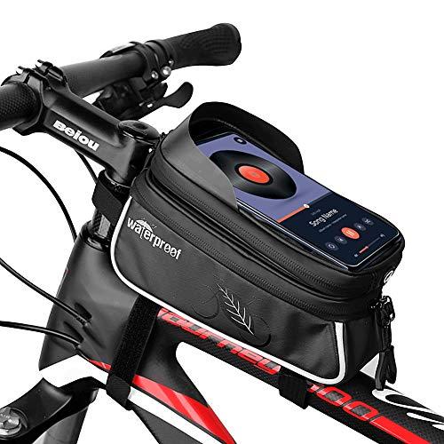 TAKEBEST Sacoche Vélo Téléphone Etanche, PU Matériau et TPU Écran Tactile Double Pouch Sacoche Support Smartphone Au-Dessous de 6,0 Pouces