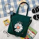 Señoras Hombro Messenger Bolsa de Lona portátil Estudiante Mochila Coreana Bolso Femenino Tendencia Verde negruzco