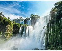 番号でペイントキャンバスに風景を描くアートツリーDiyの写真手描きの滝のフレームなし40x50CM