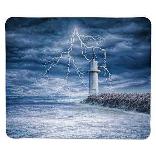Yanteng Decoración del Faro, Faro Tormenta eléctrica Viento turbulento Clima cambiante Escena del Cielo dramático, Borde Cosido Antideslizante Caucho