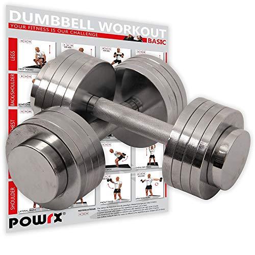 POWRX Chrom Kurzhantel | 2x5kg oder 2x10kg | Gewichte-Set Paar verchromt und gerändelt | Ideal für Fitness Kraft-Training (2X 10 kg)