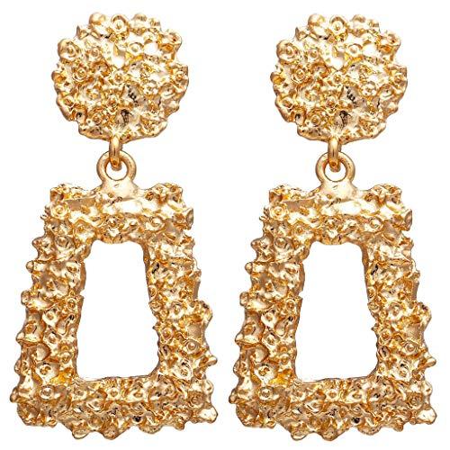 LABIUO Damen Ohrringe Mode Böhmische Kristall Blumen Ohrringe Einfache Große Geometrische Retro Lange Ohrringe(L,Freie Größe)