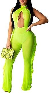 Women See Through Sheer Mesh Two Piece Bikini Bandage Cover Up Hoodie Crop Tops and Ruffle Legging Pants