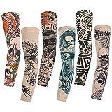 Konsait 6pcs Maniche Tatuaggio, Nylon Elastiche Realistico Tatuaggio Temporaneo Finti Tattoo Sleeve per Uomo Donna, Sportiva Protezione , Ciclismo ,Ventilazione di Protezione Solare